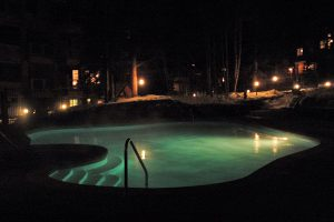 Night Time at the Pool, Nothing Like Warm Water and Cold Snow!