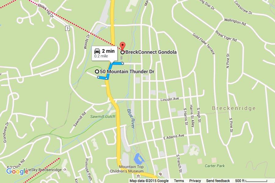 Mountain Thunder: Map Showing Proximity to BreckConnect Gondola