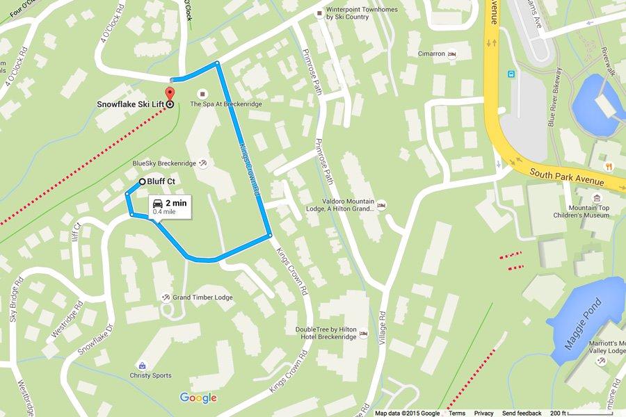 Tyra Stream 339 Condo: Map of Distance to Snowflake Ski Lift