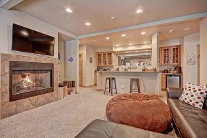 Lower Level Living Area with HDTV and Blazing Gas Fireplace