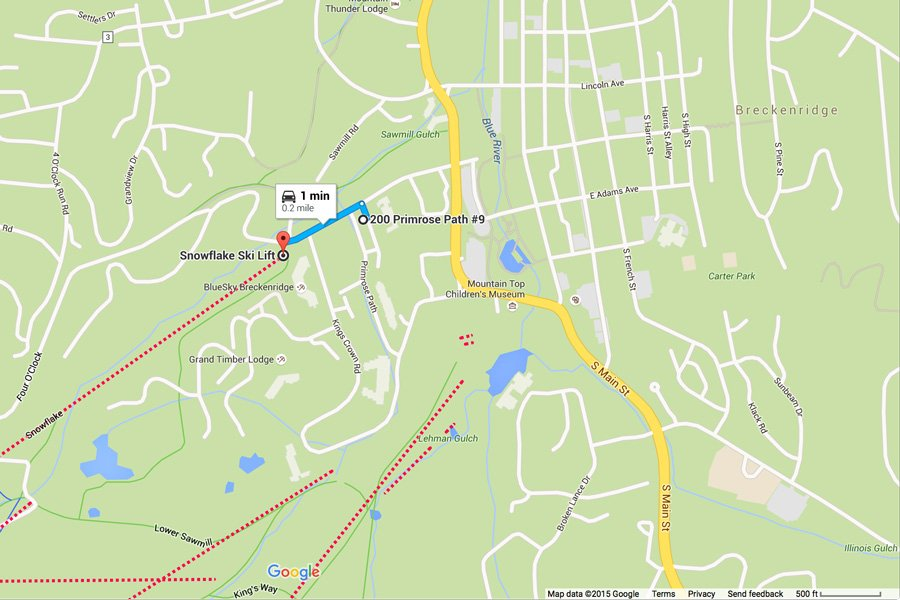 Winterpoint 9 Townhome: Map Showing Proximity to Snowflake Ski Lift
