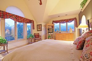Upper Level Master Bedroom with Vaulted Ceilings