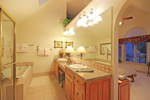 Upper Level Master Bathroom with His/Her Sinks and Jetted Tub