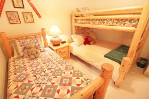 Upper Level Bedroom #3 with Twin Bed Plus Twin Over Full Bunk Bed