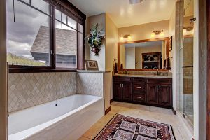 Ensuite Bathroom for Master Suite #1, Granite Counter and Full Glass Shower