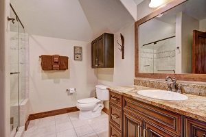 Master Suite #3  Ensuite Bathroom with Granite Counters, Full Glass Shower