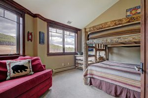 Bunk Room with HDTV, Playstation, Queen Trundle and Ski Area View