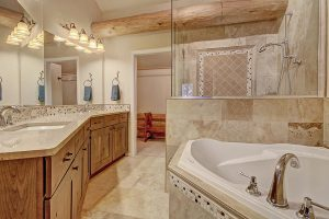Master Bath with Double Sink, Large Glass Shower, and Soaking Tub