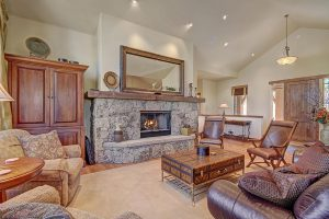 Blazing Gas Fireplace and Plenty of Seating for Gathering Everyone Together