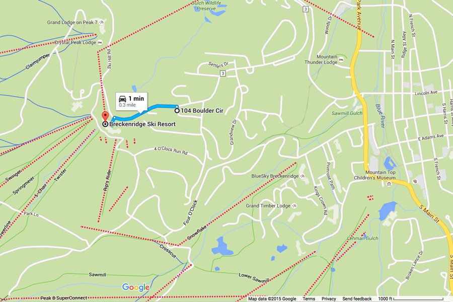 Ski Hill Lodge: Map Showing Proximity to Breckenridge Ski Resort
