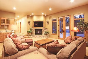 Rec. Area with Large HDTV and Blazing Fireplace