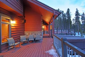 Large Deck with Patio Furniture, a Gas Grill and a Hot Tub