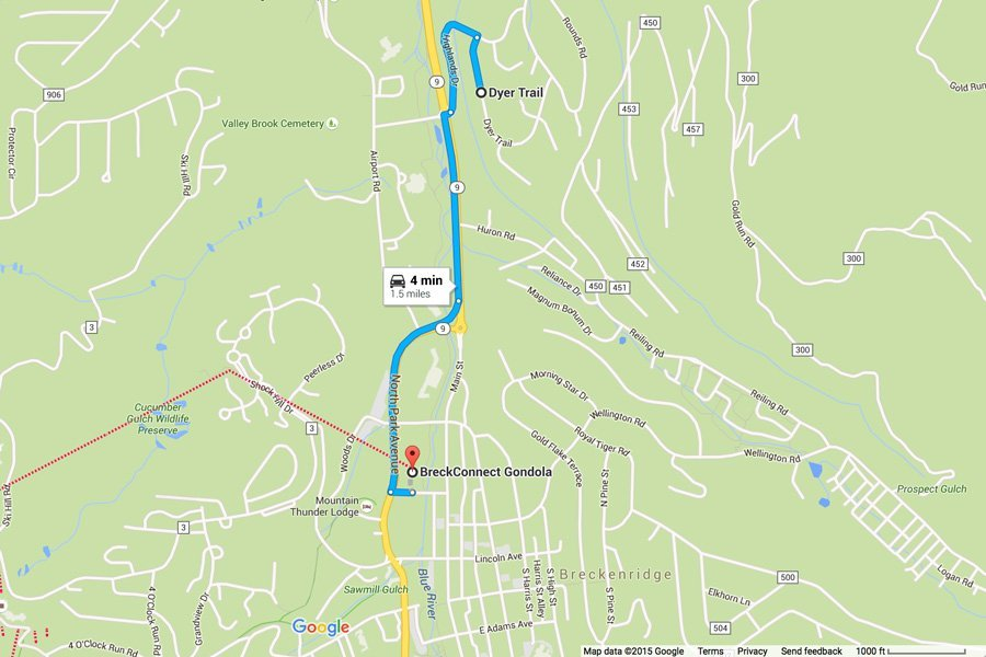 Trail View Lodge: Map Showing Proximity to BreckConnect Gondola