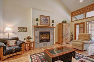 Blazing Gas Fireplace in Main Living Room