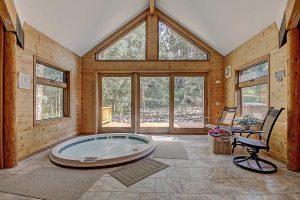 Indoor Bubbly Hot Tub in Sunroom