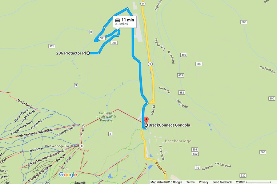 Homestead Retreat: Map Showing Proximity to BreckConnect Gondola