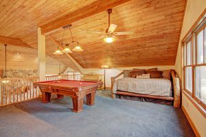Upstairs Loft Area with Pool Table and Queen Bed